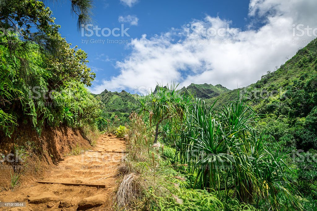 Kalalau Trail Landscape, Napali Coast State Park, Kauai, Hawaii stock photo