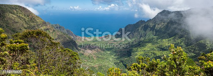Panoramic view of Kalalau Valley on Kauai, Hawaii, the largest valley on the Na Pali coast.