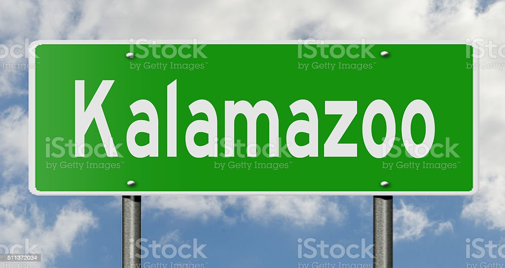 Kalamazoo highway sign stock photo