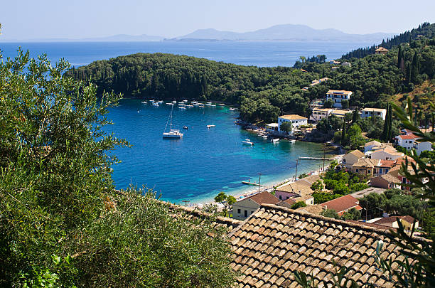 Kalami bay on Corfu island - Greece stock photo