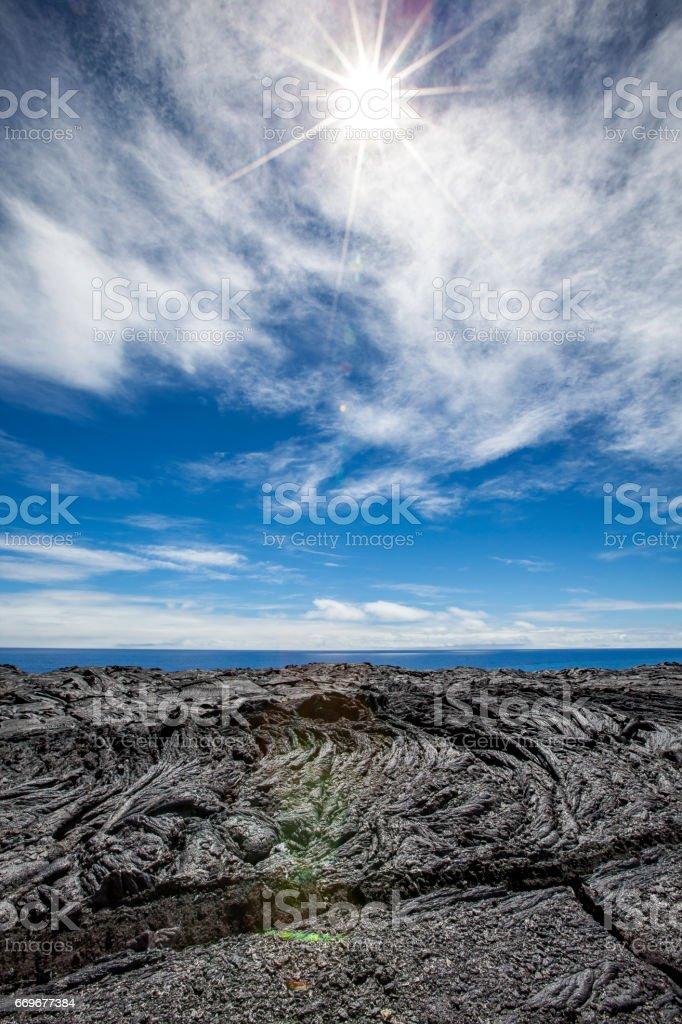 kalapana lava flow stock photo
