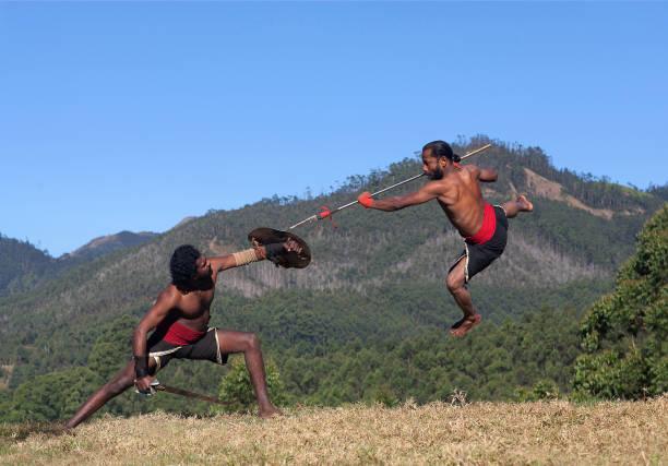 Kalaripayattu Martial Art in Kerala, India stock photo