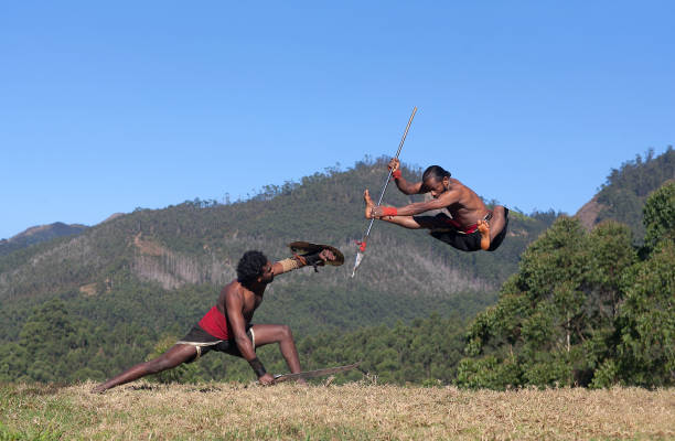 Kalaripayattu Martial Art in Kerala, India stock photo