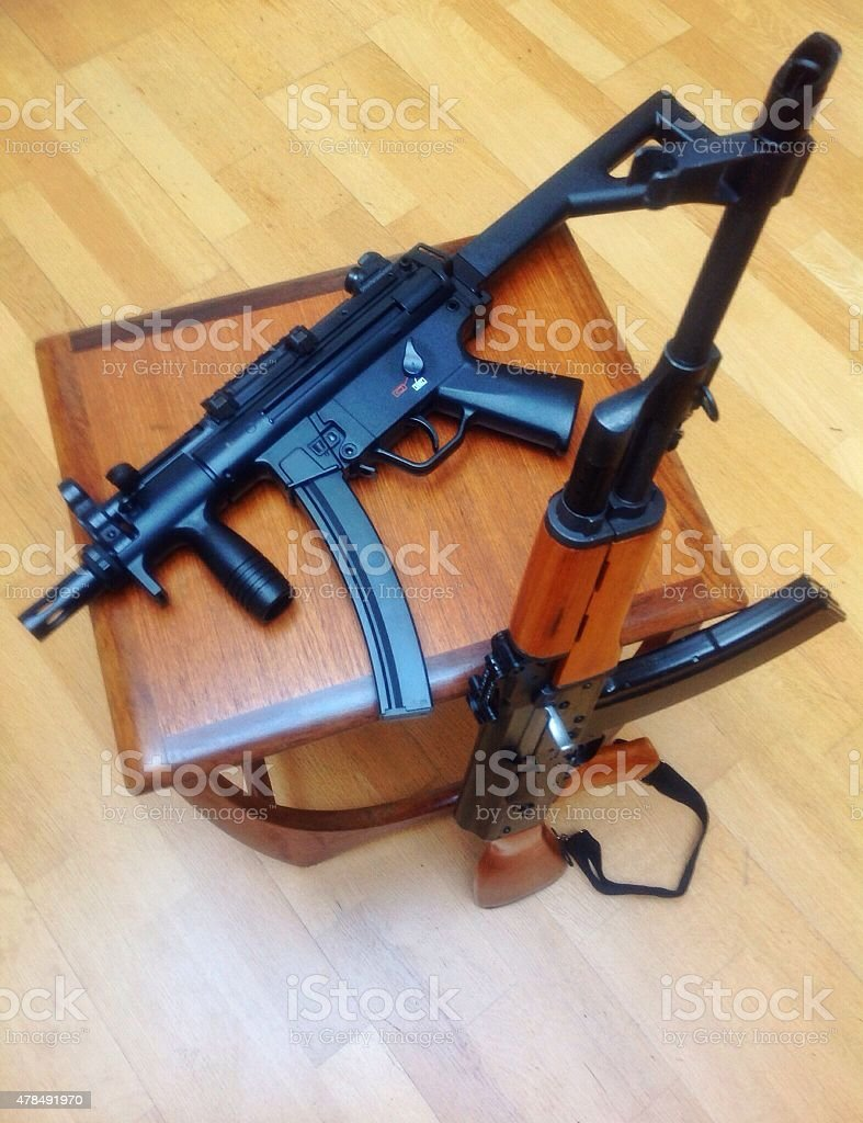 AK-47 Kalashnikov rifle and prototype MP5-K PDW, MP5 machine gun stock photo