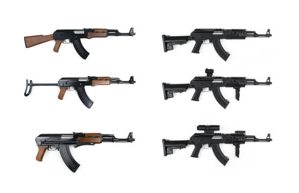 AK47 Kalashnikov Tactical Gun Series AK47, Tactical, Kalashnikov, Gun, White Background advanced tactical fighter stock pictures, royalty-free photos & images