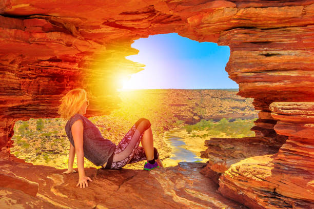 kalbarri nature's window woman - stupidblonde stock pictures, royalty-free photos & images