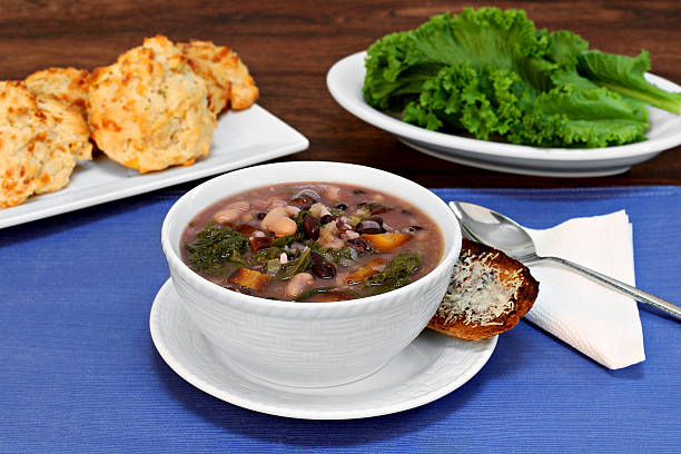 Kale and Bean Soup stock photo