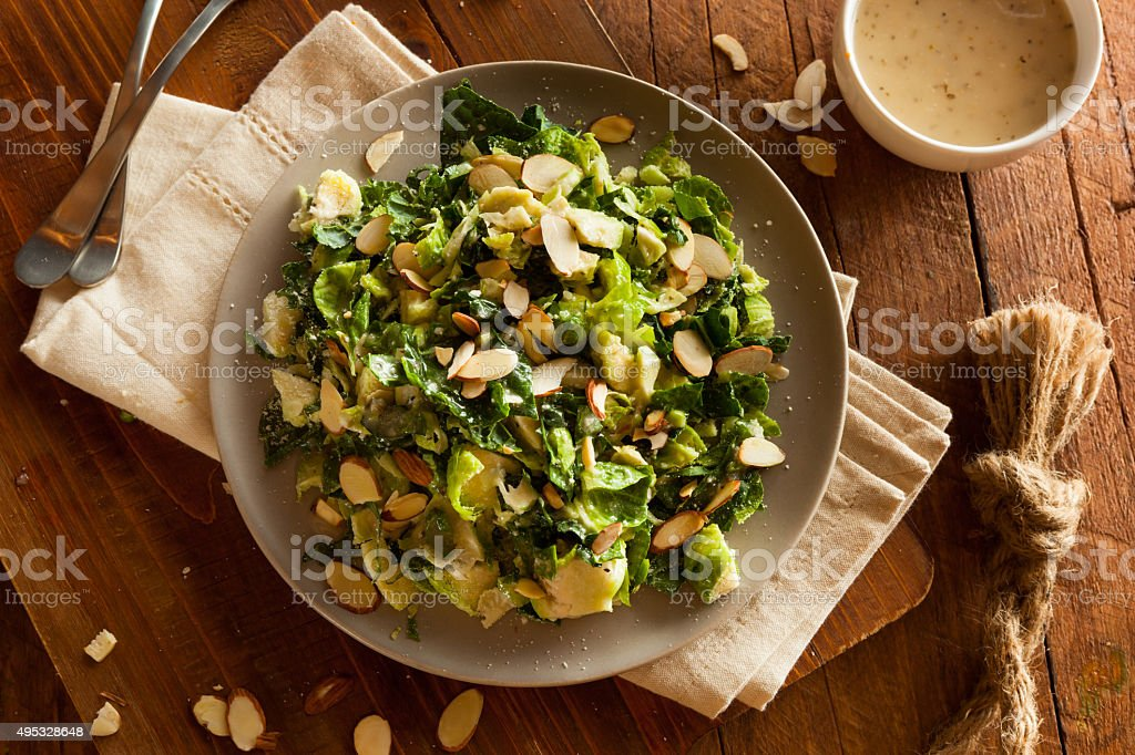 Kale and Brussel Sprout Salad stock photo