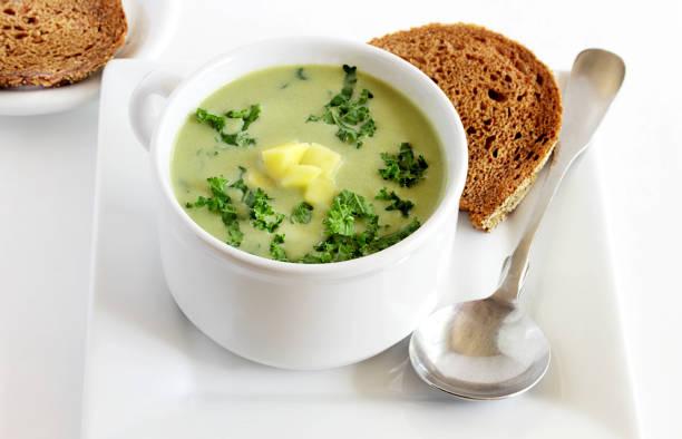 Kale and potato soup stock photo