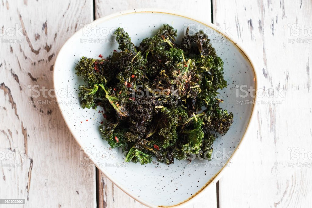 Kale chips deep fried high end restaurant trendy stock photo