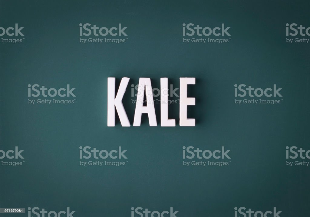 Kale lettering sign stock photo