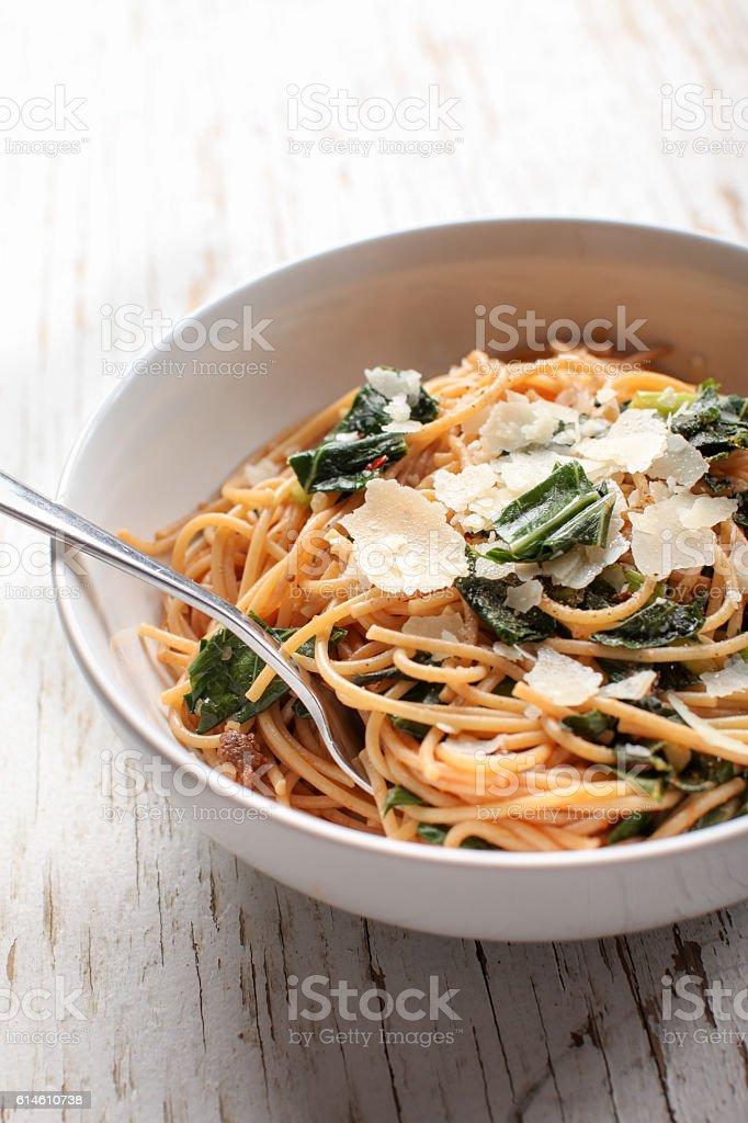 Kale Pasta Dish close up stock photo