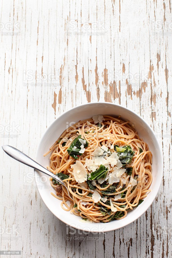 Kale Pasta Dish full plate view stock photo