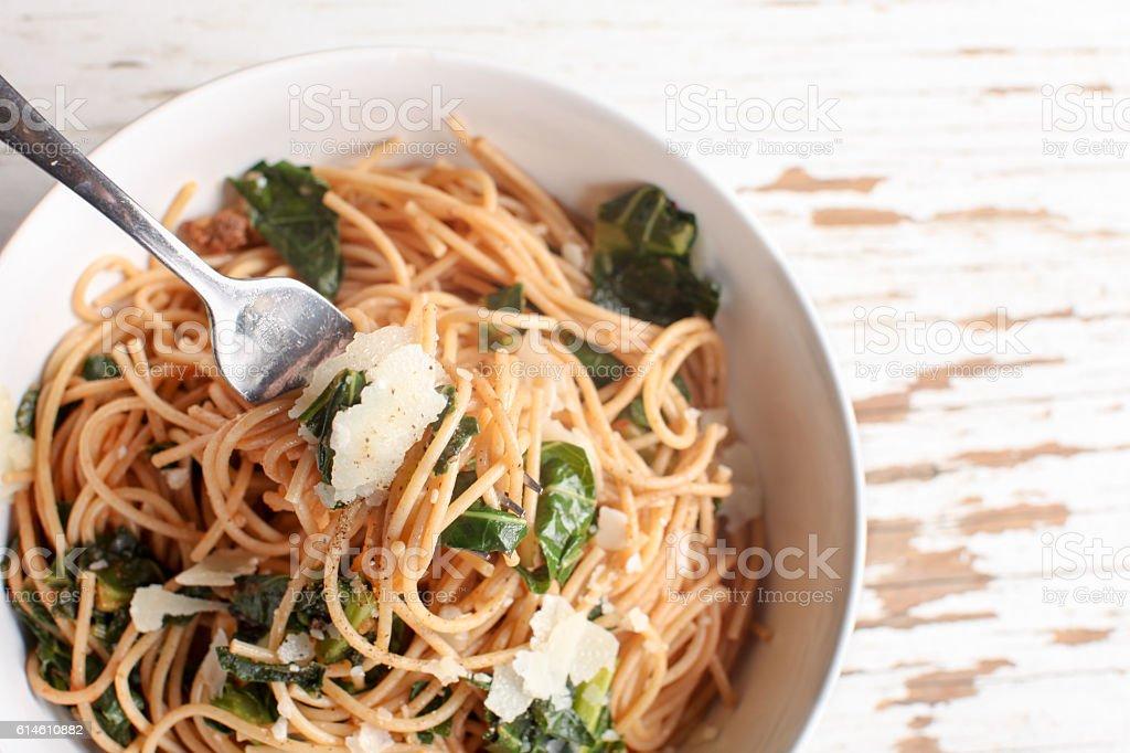 Kale Pasta Dish horizontal stock photo