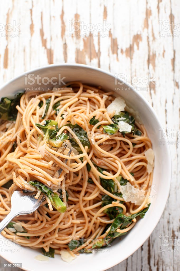 Kale Pasta Dish top view stock photo