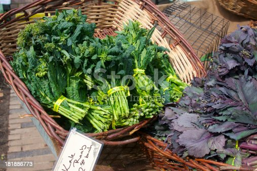 green Kale raab and purple cabbage raab at the farmer's market