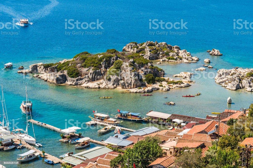 Kale Köyü Kekova üzerinden. stok fotoğrafı