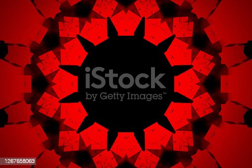 Kaleidoscope background. Abstract fractal shapes. Beautiful multicolor kaleidoscope texture. Fantasy chaotic colorful fractal pattern. Vintage decorative red background with geometric abstract symmetrical pattern. 3D illustration