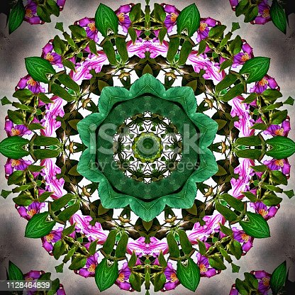 Square picture of an abstract kaleidoscope pattern with pink and purple flowers and leaves.