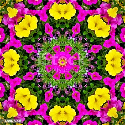 Square picture of an abstract kaleidoscope pattern with  multicolored million bells flowers.