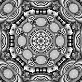 Mandelbrot fractal treated with eight-way symmetry kaleidoscope effect and given a subtle stippled effect. CGI / render in black and white, square format.