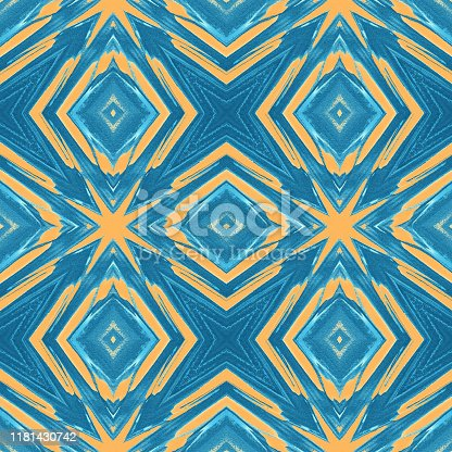 Kaleidoscope Grunge Blue Yellow Stars Diamond Pattern Seamless Tile Exploding Abstract Sea Beach Tropical Texture Filter Distorted Photography