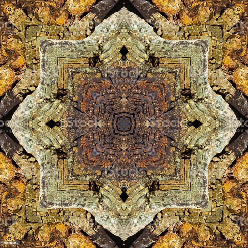 kaleidoscope square:  fractured chert layers stock photo