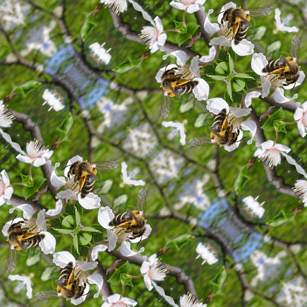 Kaleidoscopic bee on flower seamless generated texture stock photo