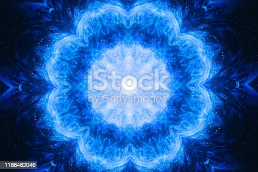 1149518720 istock photo Kaleidoscopic visual effect for a DJ background. Music background. Abstract flower shape to sound waves. 1188482046