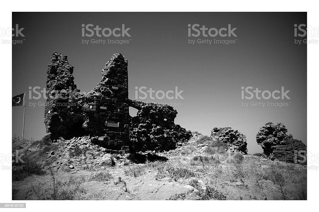 Kalekoy castle in Gokceada island stock photo