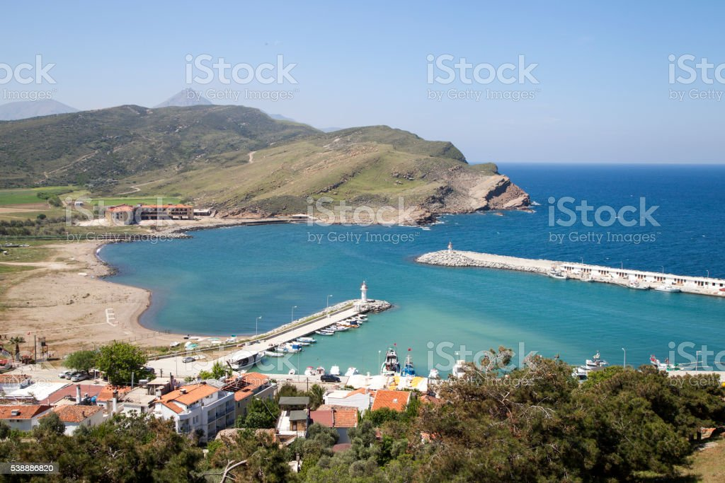 Kalekoy harbor in Gokceada stock photo