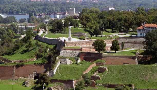 Kalemegdan fortress, Belgrade, Serbia aerial view stock photo
