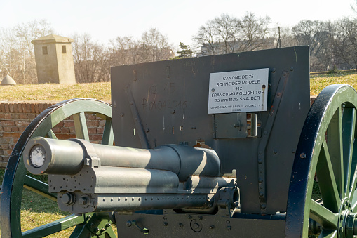Belgrade, Serbia - 14 May 2017: Kalemegdan fortress in Belgrade. Medieval castle and famous tourist destination. Walls and gates at old fortress. Tanks, cannon and air defense systems.