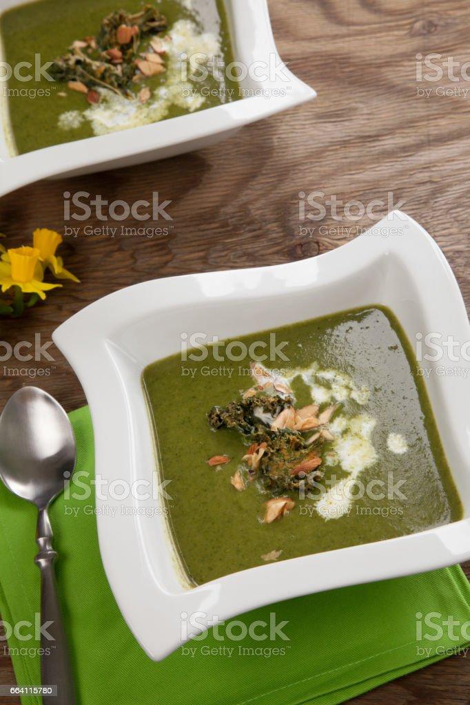 Kale-Potato Soup with Almond foto stock royalty-free