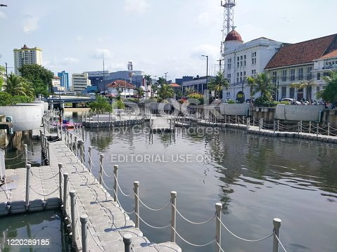 Kali besar (de groote rivier) located in kota tua. Kali besar one of tourist destination in kota tua with the old buildings by the river side.