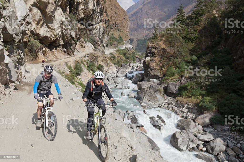 Kali Gandaki downstream biking, Nepal stock photo