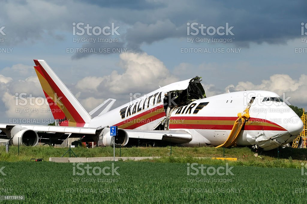 Kalitta Air Boeing 747 cargo crash in Brussels Airport, Belgium stock photo