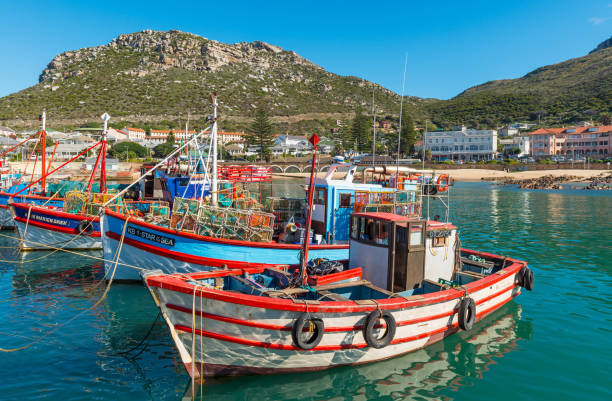 Kalk Bay Fishing Boats in South Africa stock photo