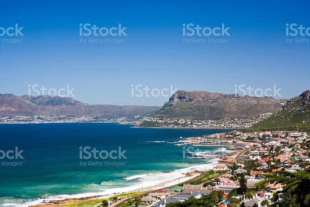 Kalk Bay on the False Bay coastline near Cape Town stock photo