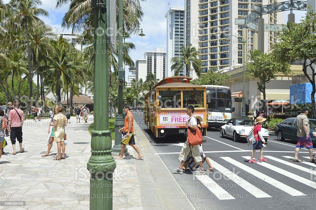 Kalākaua Avenue, Waikiki royalty-free stock photo