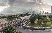 Kallang MRT Panoramic View, SIngapore Cityscape, Metro Subway Station, Trains passing