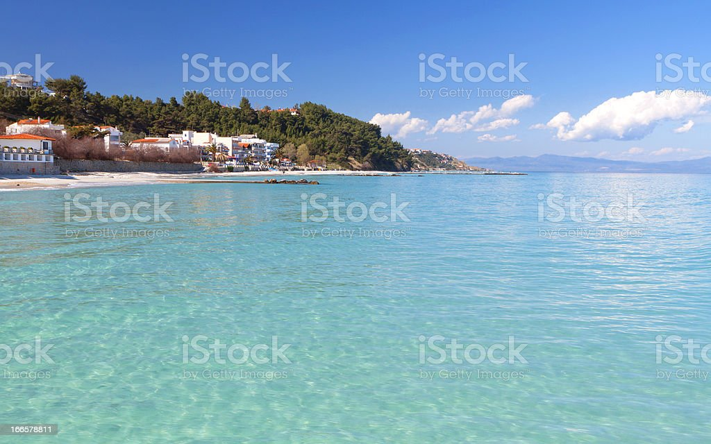 Kallithea summer resort at Halkidiki, Greece stock photo