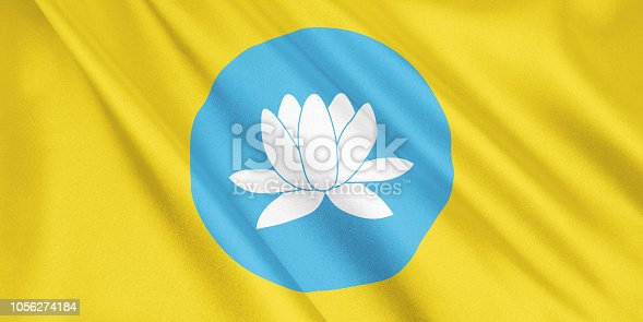 1056280906 istock photo Kalmykia flag waving with the wind, wide format, 3D illustration. 3D rendering. 1056274184