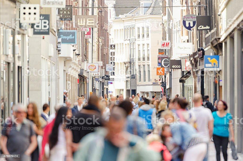 Kalverstraat shopping street Amsterdam city center stock photo