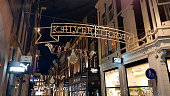 Amsterdam, The Netherlands - 03 January, 2019: Kalverstraat street decorated for Christmas. The Kalverstraat is the most expensive shopping street in the Netherlands.