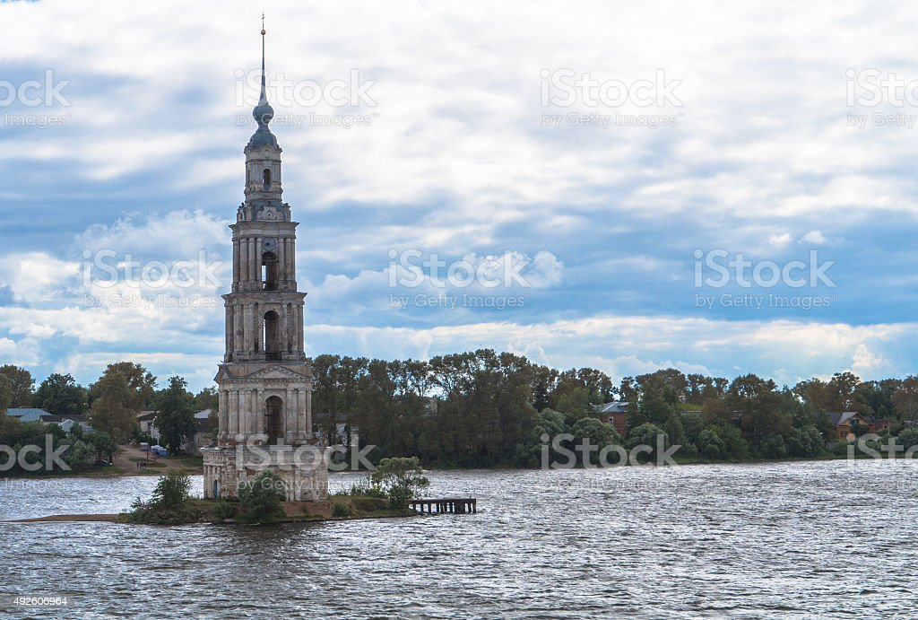 Kalyazin Bell Tower submerged in reservoir stock photo