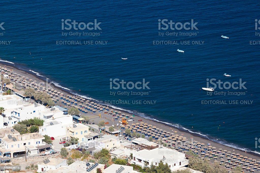 Kamari Beach, Santorini stock photo