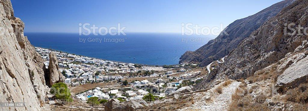 Kamari Panorama, Santorini stock photo