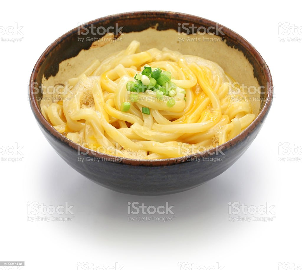 kamatama udon, japanese noodle dish stock photo