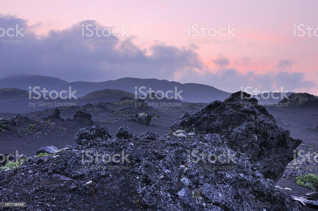 Kamchatka landscape with blue twilight stock photo